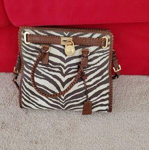 Michael Kors zebra pattern canvas Hamilton bag